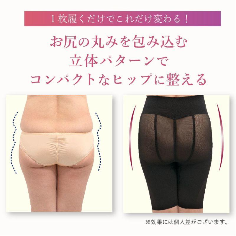 お尻の丸みを包み込む立体パターンでコンパクトなヒップラインに整える