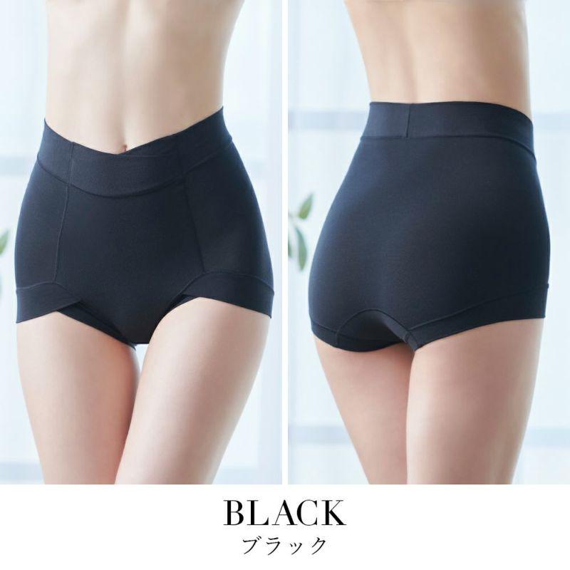 綿混らくのびフィットショーツ ブラック モデル着用